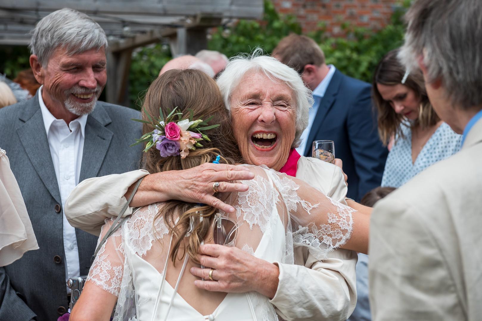 Happy smiling wedding guest