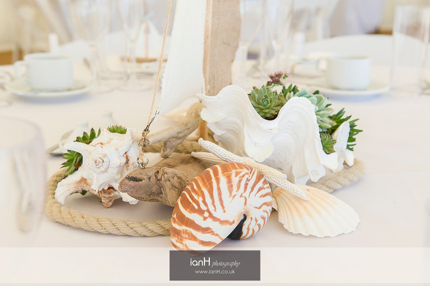 Table decorations for a Bournemouth beach wedding