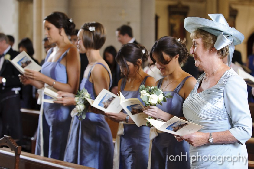 Bridesmaids lined up in Bournemouth Church