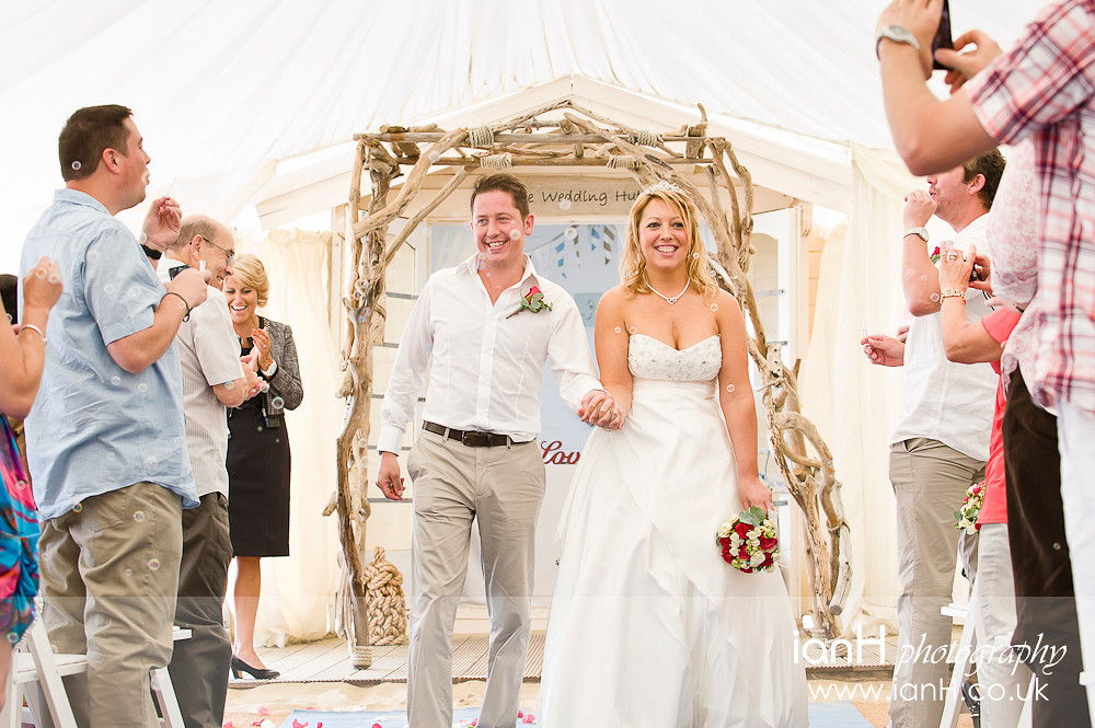 Bournemouth beach wedding photography - Bride and Groom