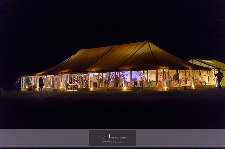 Nighttime at a Studland wedding marquee