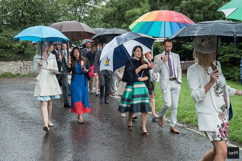 guests and umbrellas