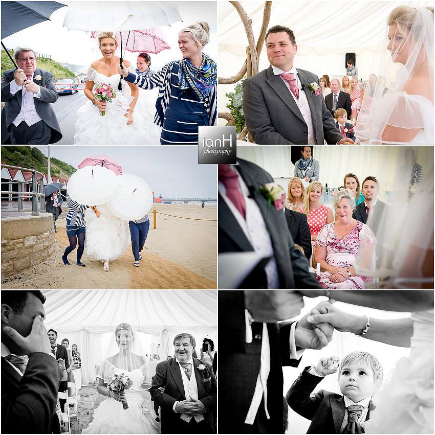 Rainy day wedding at beach Weddings Bournemouth