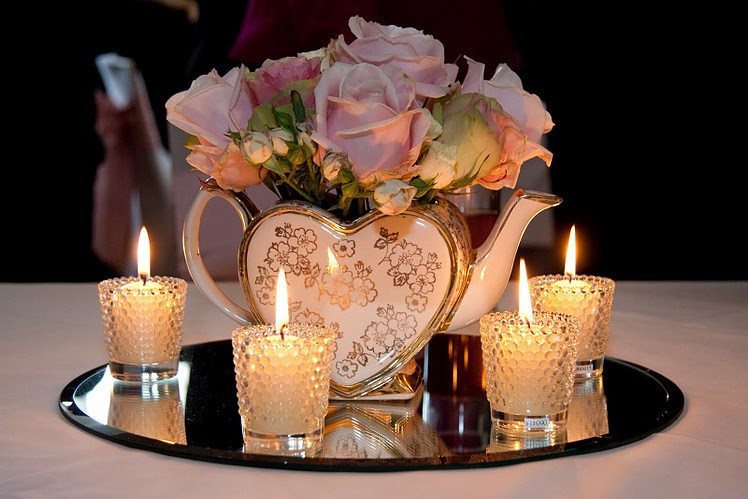 vintage tealights used at a wedding