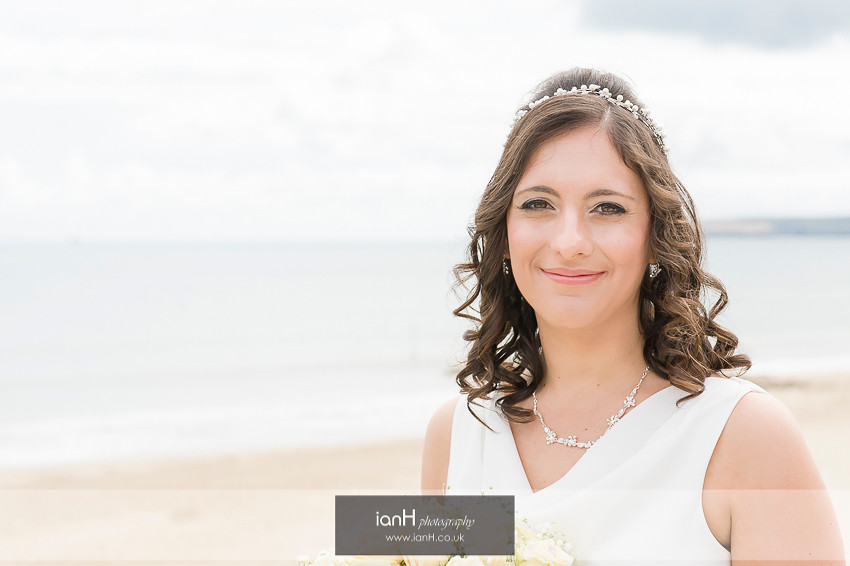 Bridal portrait on Bournemouth beach