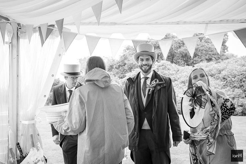 happy guests at wet Studland wedding