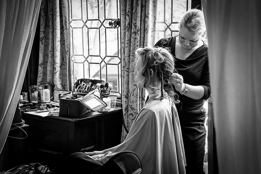 Bridal hair at Tudor Grange Hotel