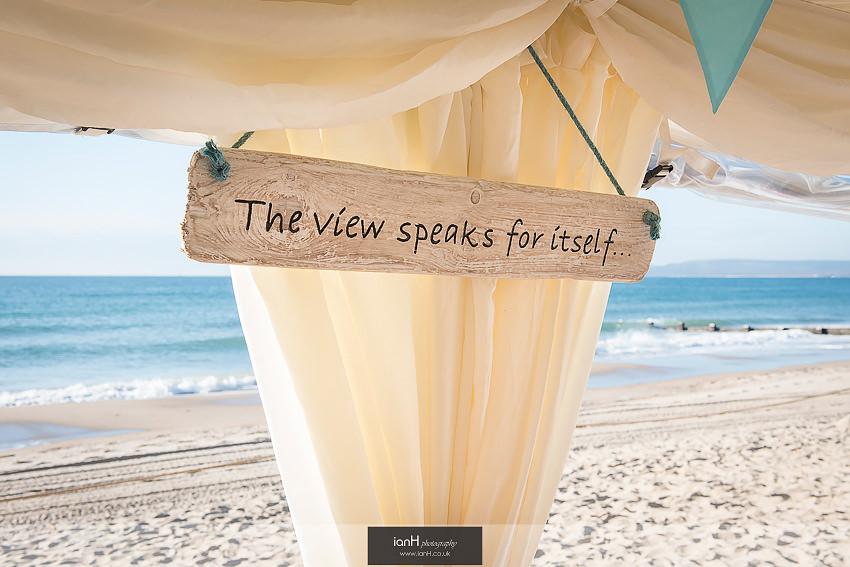 Wedding sign on Bournemouth beach