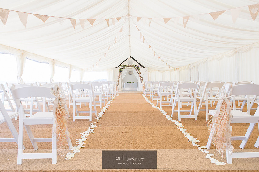 Beach Weddings Bournemouth marquee ready for wedding