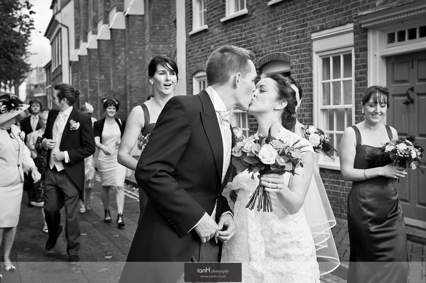 Kissing Bride an Groom at Poole wedding
