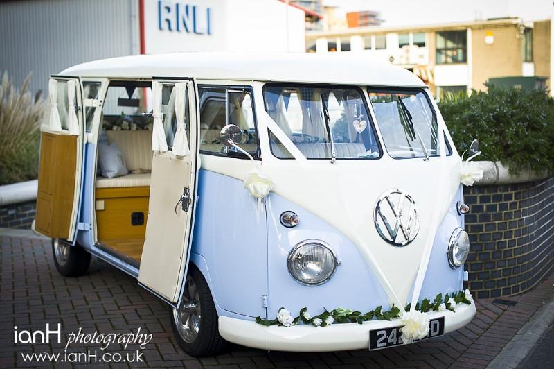 Lovely VW Splitty wedding car from Dorset DubHire
