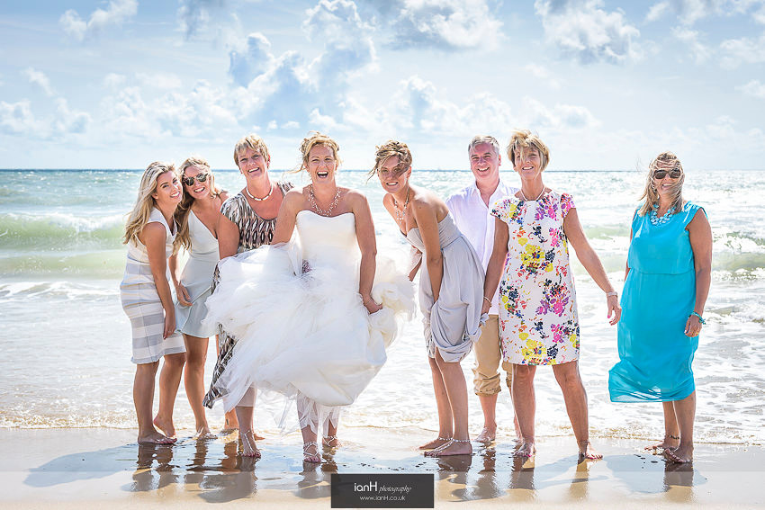 Laughing Bridal party at Beach Weddings Bournemouth