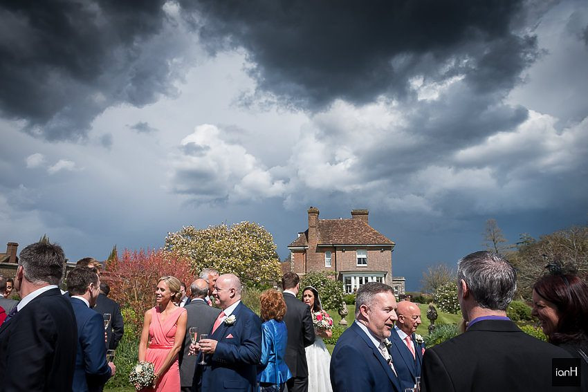 Dark skies brooding at a Parley Manor wedding