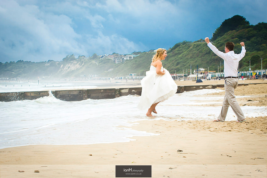 Fun shot with Bride and Groom on Bournemouth beach