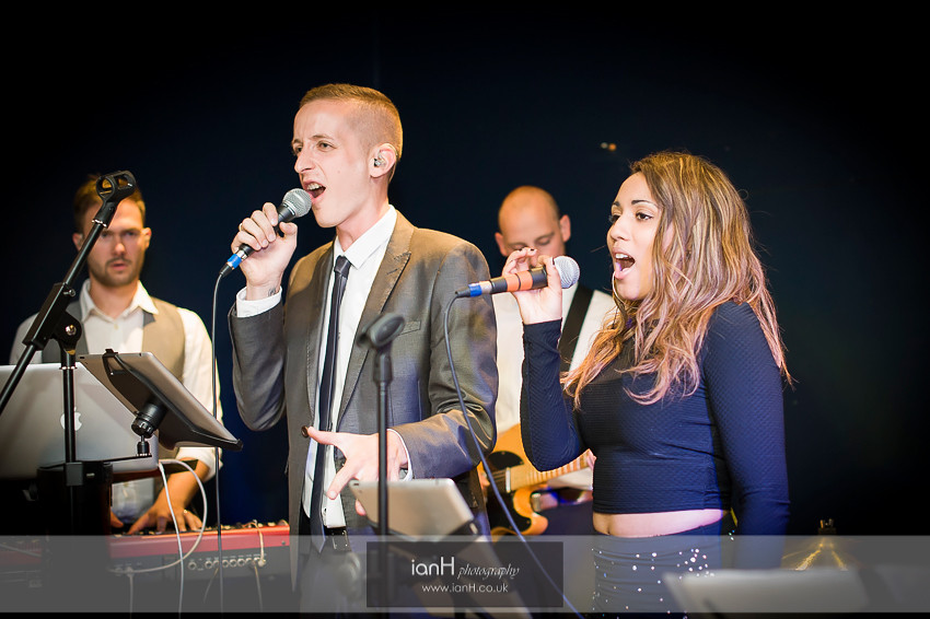 Band singing during wedding at Bournemouth Marriott Highcliff Hotel