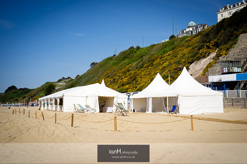 Wedding marquee on Bournemouth beach
