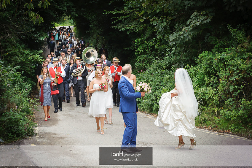 Studland wedding party in the lanes