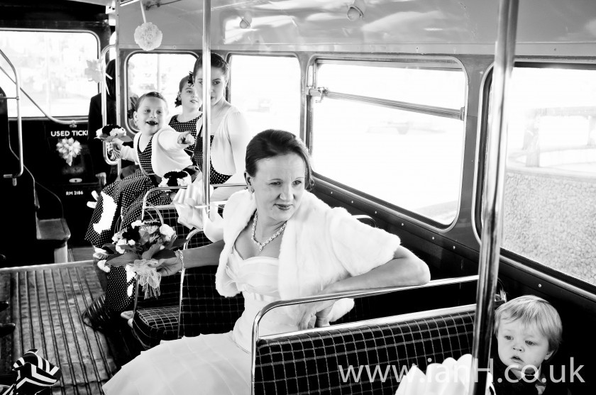 The_Bridal_party_arrives_for_the_wedding_ceremony_on_Bournemouth_beach_aboard_a_Routemaster_bus