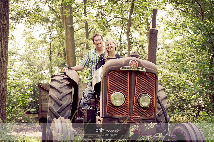 Engagement shoot on tractor