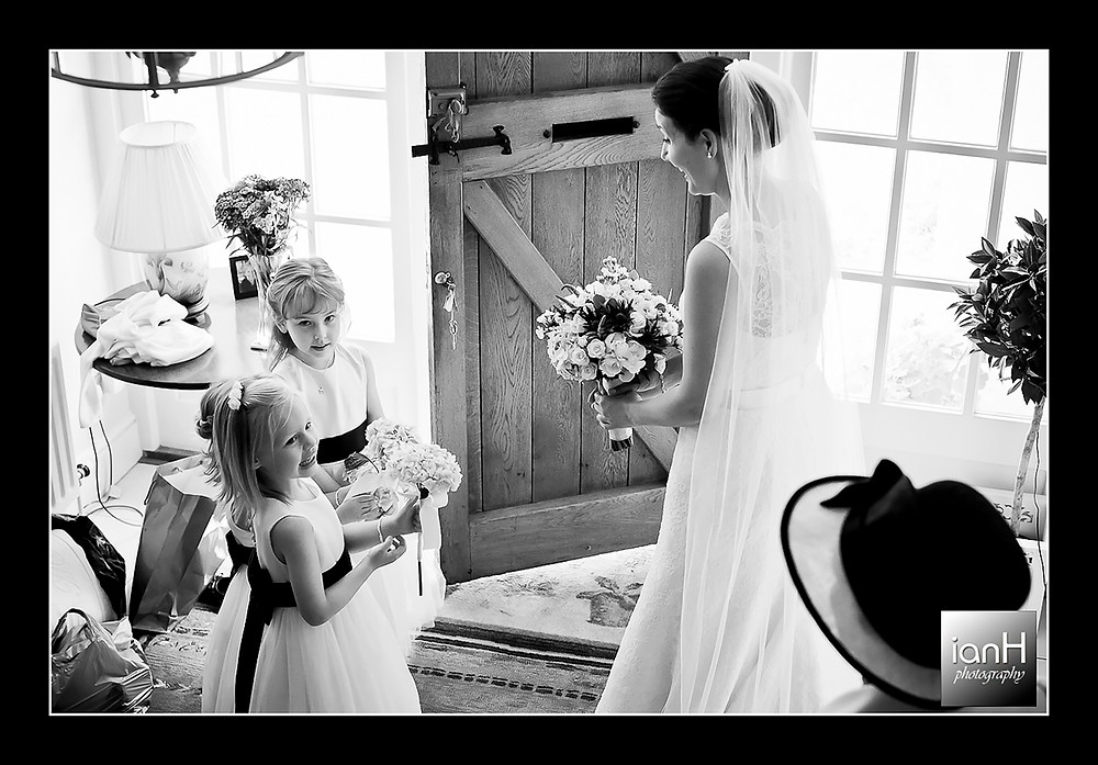 The Flower Girls and the Bride as they prepare to leave the house