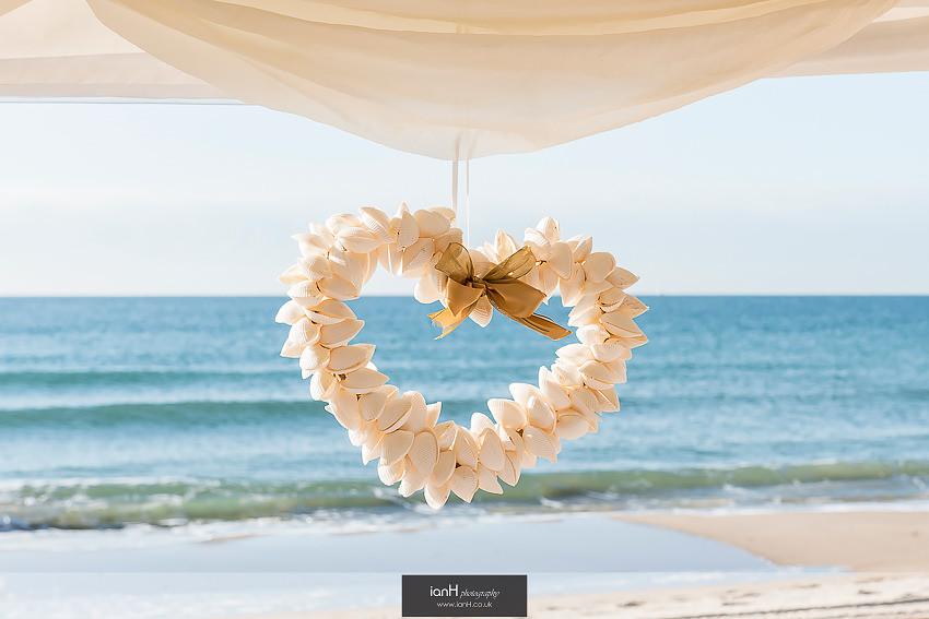 Shell heart on Bournemouth beach wedding