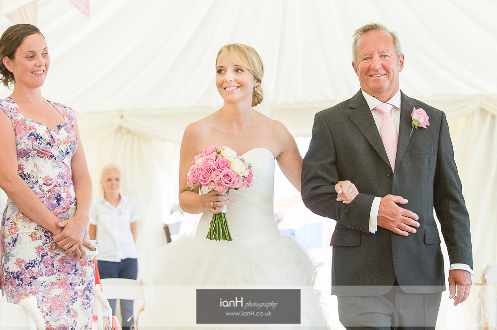 Bride and Father at beautiful Bournemouth beach wedding