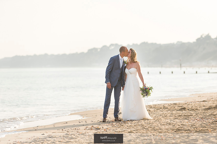Kissing Bride and Groom at Beach Weddings Bournemouth