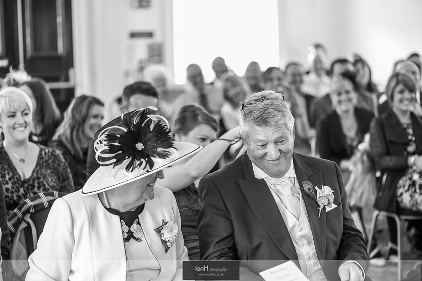 Wedding guests at Poole Guildhall