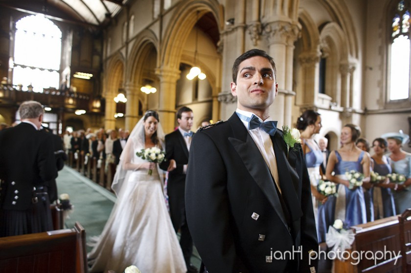 Groom in Bournemouth Church awaiting arrival of the Bride down the aisle
