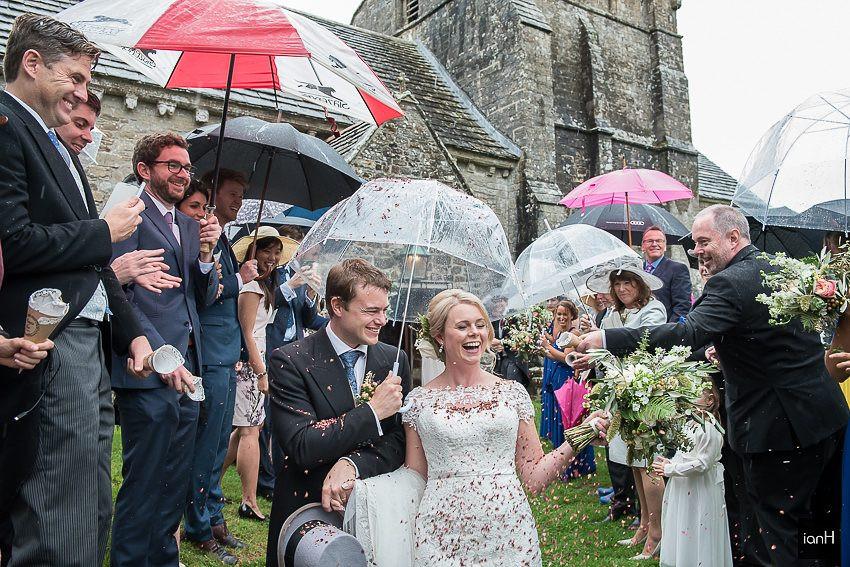 confetti on a wet wedding day