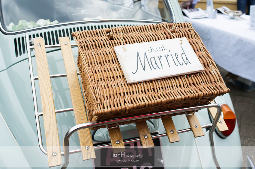 Just Married picnic basket on 1965 VW Beetle
