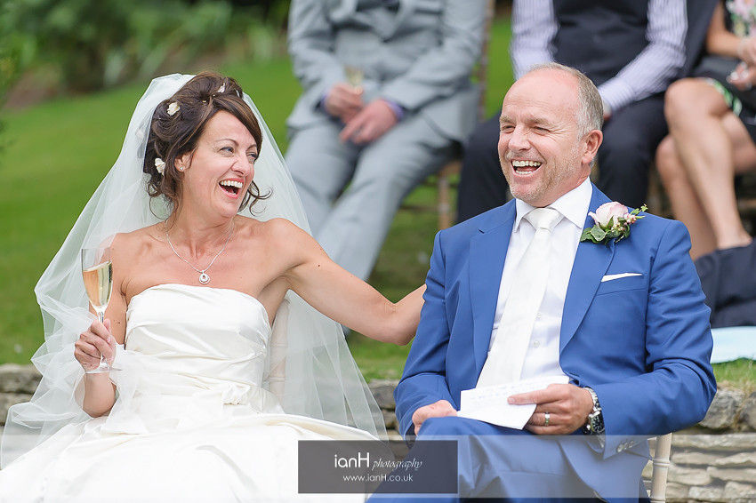 Studland Bride and Groom laughing