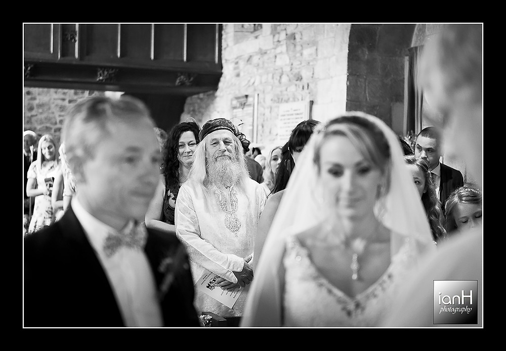 Studland church wedding the proud Father watching the Bride
