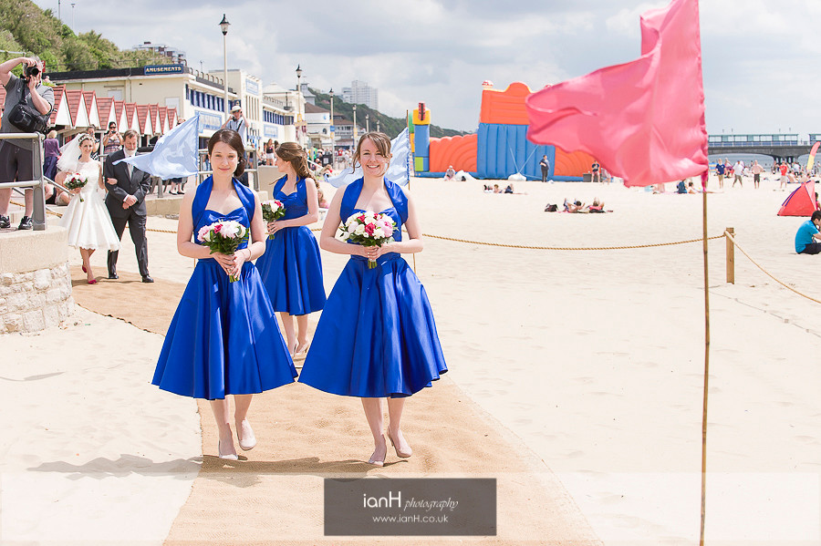 Bridal party on Bournemouth beach