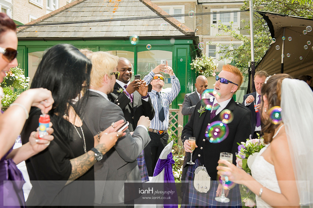 Bubbles at Bournemouth wedding