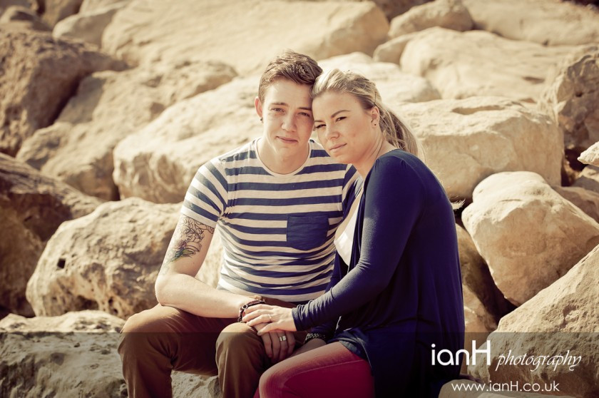 Young engaged couple on Highcliffe beach - Dorset wedding photography