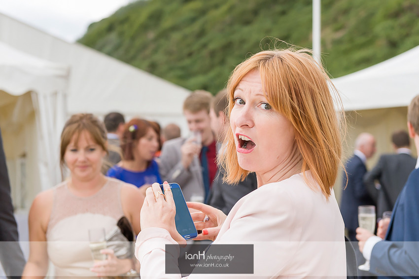 Shocked guest at Bournemouth beach wedding