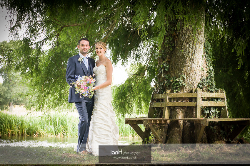Bride and Groom on a Hampshire riverbank