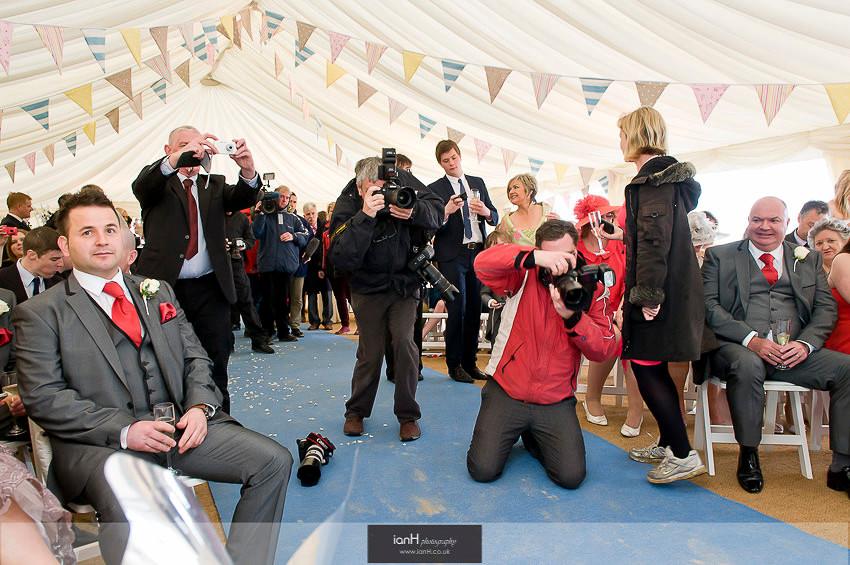 Press photograph first UK beach wedding