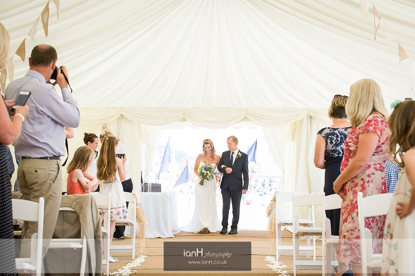 Bride and Father arriving at Beach Weddings Bournemouth ceremony