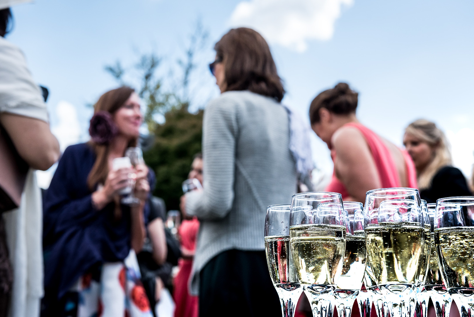 Champagne and wedding guests