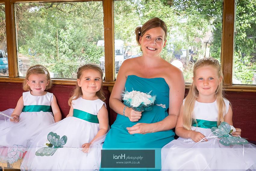 Bridesmaids on board a steam-bus