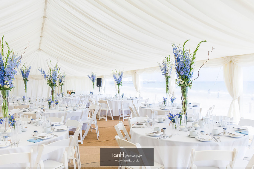 Stunning wedding marquee at Beach Weddings Bournemouth