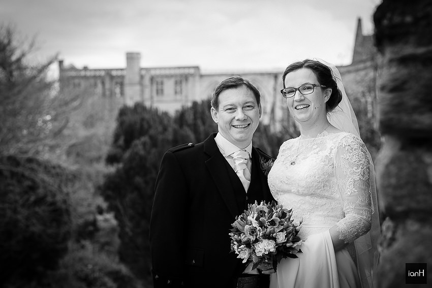 Bride and Groom at Christchurch Priory Dorset