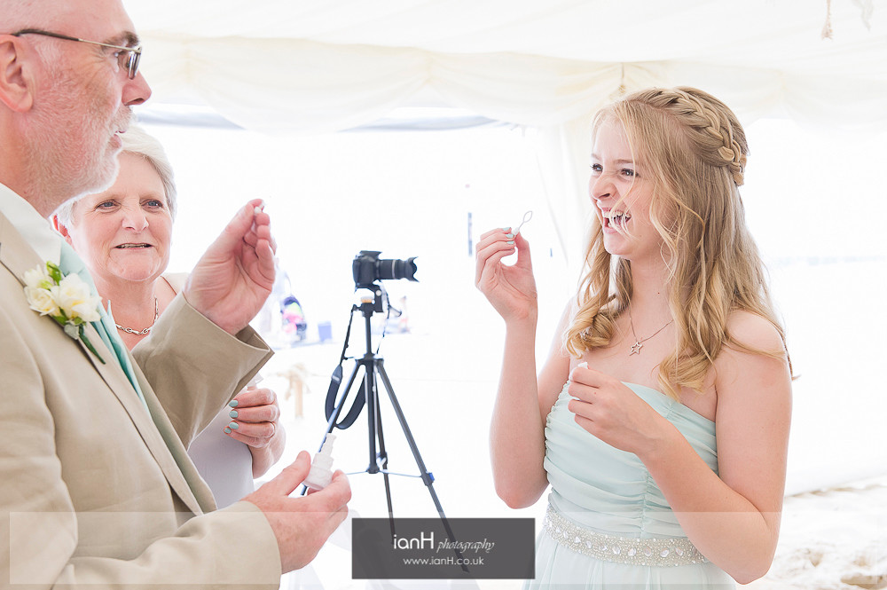 Bubbles at Bournemouth beach wedding