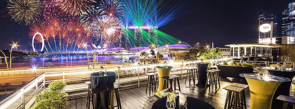 Singapore Wedding Venue: 1919 Wateboathouse Patio overlooking fireworks across Marina Bay