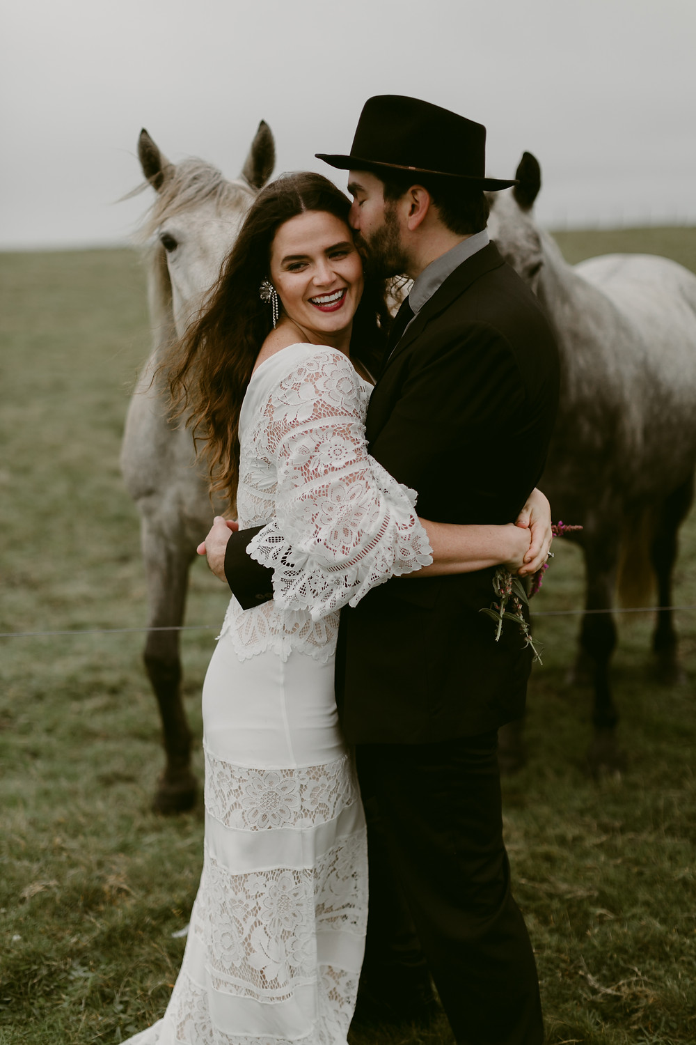 Destination Pre wedding Photoshoot: Couple in embrace with horse in backaground