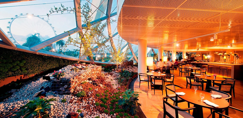 Singapore Wedding Venue: Pollen restaurant within Flower Dome overlooking Singapore Flyer