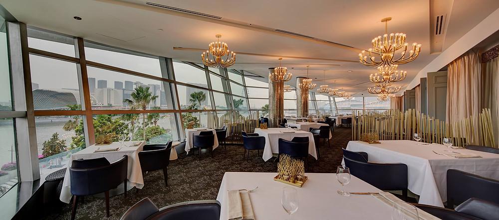 Singapore Wedding Venue: Forlino Restaurant interior with lit chandeliers