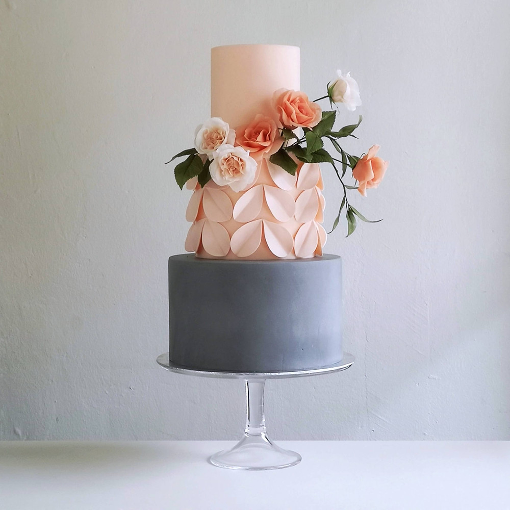 Peach & Grey 3 Tier Wedding Cake with Flowers and Artistic Design
